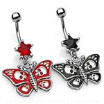 Butterfly with Carved Skull Design on Wings and Star Shape CZ Dangle Belly Button Navel Ring